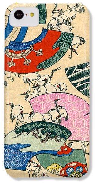 Vintage Japanese Illustration Of Fans And Cranes IPhone 5c Case