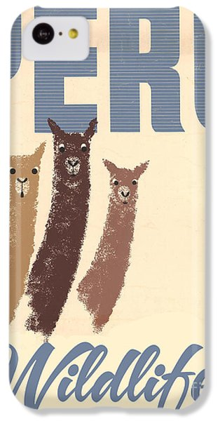Llama iPhone 5c Case - Vintage Wild Life Travel Llamas by Mindy Sommers