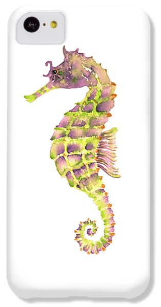 Violet Green Seahorse - Square IPhone 5c Case by Amy Kirkpatrick