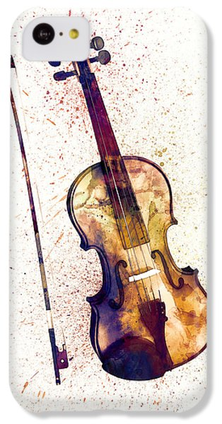 Violin iPhone 5c Case - Violin Abstract Watercolor by Michael Tompsett