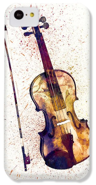 Musical iPhone 5c Case - Violin Abstract Watercolor by Michael Tompsett