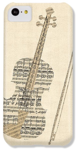 Violin iPhone 5c Case - Violin Old Sheet Music by Michael Tompsett