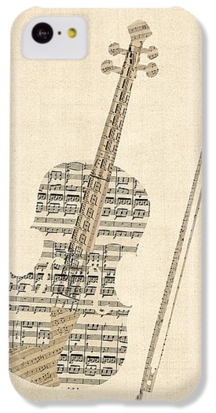 Musical iPhone 5c Case - Violin Old Sheet Music by Michael Tompsett