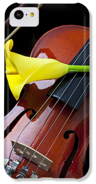 Violin iPhone 5c Case - Violin With Yellow Calla Lily by Garry Gay