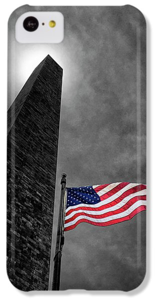 Washington Monument And The Stars And Stripes IPhone 5c Case by Andrew Soundarajan