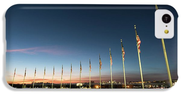 Lincoln Memorial iPhone 5c Case - Washington Monument Flags by Larry Marshall