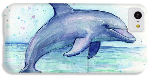 Watercolor Dolphin Painting - Facing Right IPhone 5c Case by Olga Shvartsur