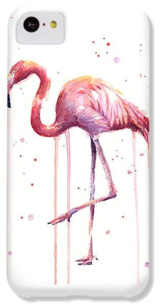 Flamingo iPhone 5c Case - Watercolor Flamingo by Olga Shvartsur