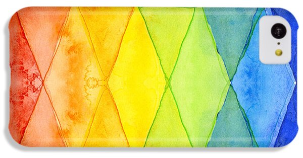 Watercolor Rainbow Pattern Geometric Shapes Triangles IPhone 5c Case by Olga Shvartsur