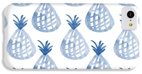 Orange iPhone 5c Case - White And Blue Pineapple Party by Linda Woods