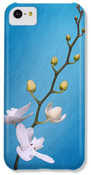 Orchid iPhone 5c Case - White Orchid Buds On Blue by Tom Mc Nemar