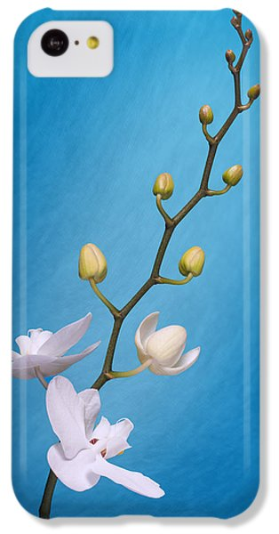 White Orchid Buds On Blue IPhone 5c Case by Tom Mc Nemar