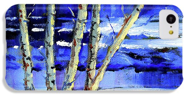 IPhone 5c Case featuring the painting Winter By The River by Nancy Merkle