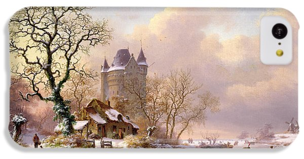 Castle iPhone 5c Case - Winter Landscape With Castle by Frederick Marianus Kruseman