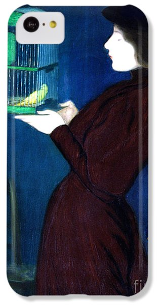Parakeet iPhone 5c Case - Woman With A Bird Cage  Detail by Jozsef Rippl-Ronai