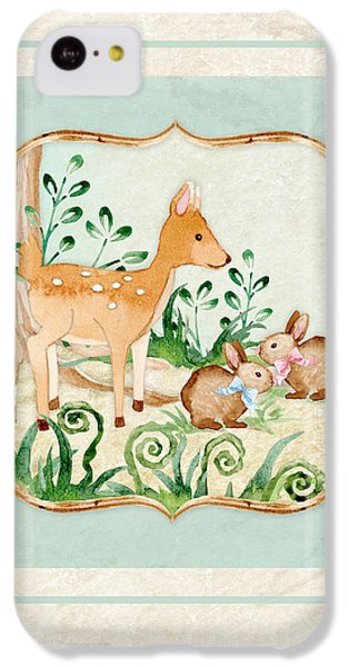 Deer iPhone 5c Case - Woodland Fairy Tale - Deer Fawn Baby Bunny Rabbits In Forest by Audrey Jeanne Roberts