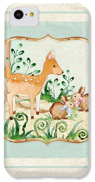 Woodland Fairy Tale - Deer Fawn Baby Bunny Rabbits In Forest IPhone 5c Case by Audrey Jeanne Roberts