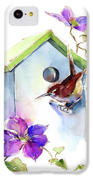 Wren With Birdhouse And Clematis IPhone 5c Case