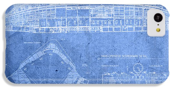 Wrigley Field Chicago Illinois Baseball Stadium Blueprints IPhone 5c Case by Design Turnpike