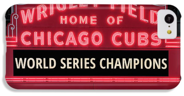 Wrigley Field Marquee Cubs World Series Champs 2016 Front IPhone 5c Case by Steve Gadomski