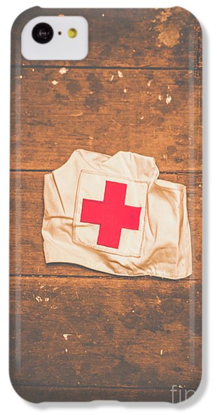 Doctor iPhone 5c Case - Ww2 Nurse Cap Lying On Wooden Floor by Jorgo Photography - Wall Art Gallery