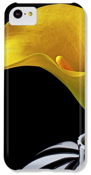 Yellow Calla Lily In Black And White Vase IPhone 5c Case by Garry Gay