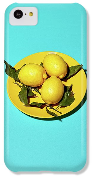 Yellow Lemons On Cyan IPhone 5c Case by Oleg Cherneikin