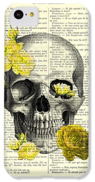 Floral iPhone 5c Case - Skull With Yellow Roses Dictionary Art Print by Madame Memento
