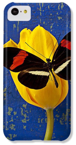 Yellow Tulip With Orange And Black Butterfly IPhone 5c Case by Garry Gay