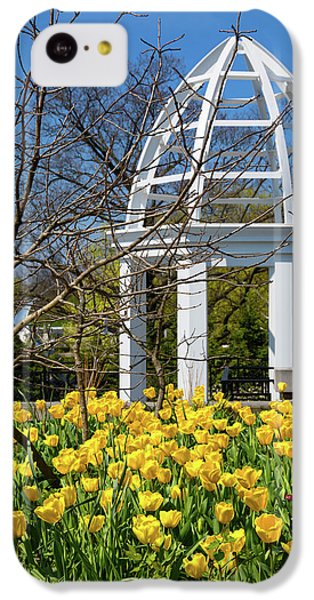 Tulip iPhone 5c Case - Yellow Tulips And Gazebo by Tom Mc Nemar