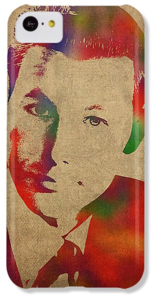 Johnny Carson iPhone 5c Case - Young Johnny Carson Watercolor Portrait by Design Turnpike
