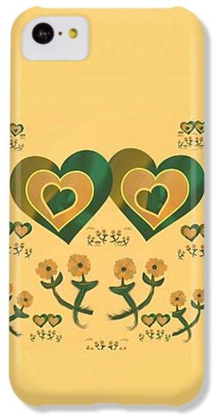 The Art Of Gandy iPhone 5c Case - Multiple Tilted Hearts Bronze by Joan Ellen Kimbrough Gandy of The Art of Gandy