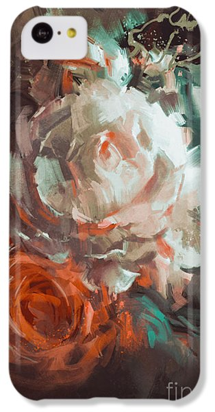 Floral iPhone 5c Case - Bouquet Of Roses With Oil Painting by Tithi Luadthong
