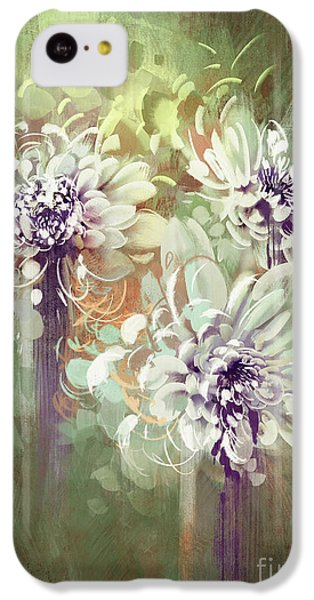 Floral iPhone 5c Case - Digital Painting Of Abstract by Tithi Luadthong