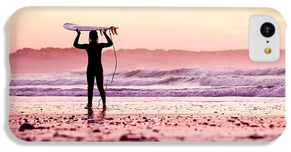 Beautiful Sunrise iPhone 5c Case - Female Surfer On The Beach At The Sunset by Iko
