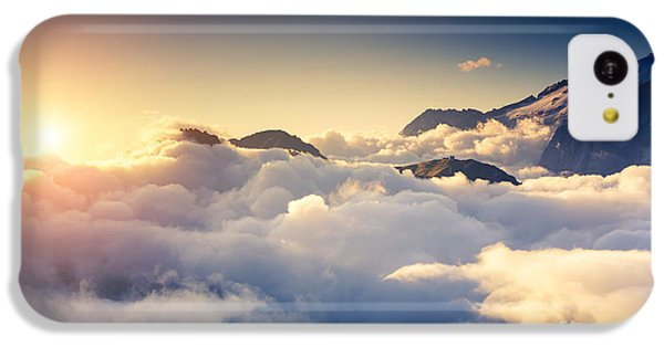 Beautiful Sunrise iPhone 5c Case - Great View Of The Foggy Val Di Fassa by Creative Travel Projects