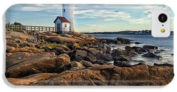 Navigation iPhone 5c Case - Lighthouse At Sunset Off Annisquam by Christian Delbert