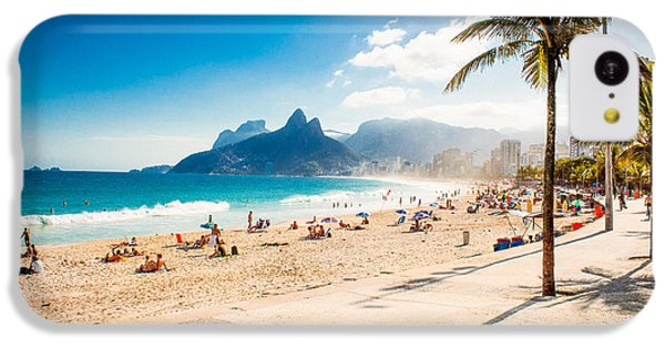 South America iPhone 5c Case - Palms And Two Brothers Mountain On by Aleksandar Todorovic