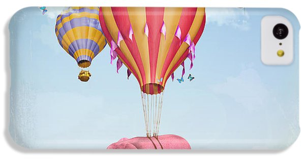 Fairy iPhone 5c Case - Pink Elephant In The Sky With Balloons by Ganna Demchenko
