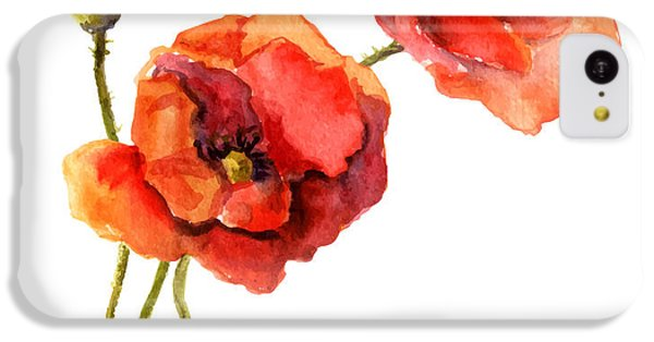Floral iPhone 5c Case - Poppy Flower. Watercolor Vector by Le Panda