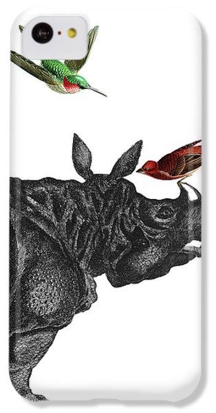 Humming Bird iPhone 5c Case - Rhinoceros With Birds Art Print by Madame Memento