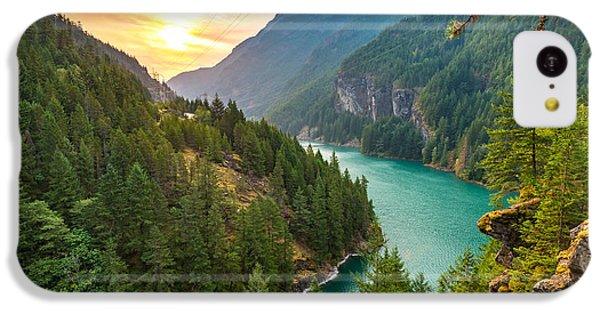 Beautiful Sunrise iPhone 5c Case - Scene Over Diablo Lake When Sunrise In by Checubus