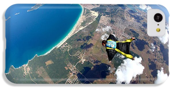 South America iPhone 5c Case - Skydive Wing Suit Over Brazilian Beach by Rick Neves