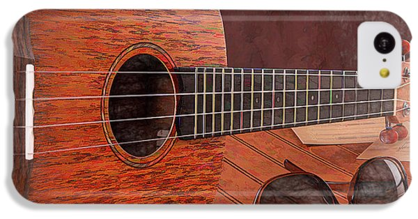 Musical iPhone 5c Case - Small Guitar And Shades by Tom Mc Nemar