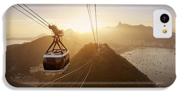South America iPhone 5c Case - View Of A Cable Car At Sunset, Showing by Claire Mcadams