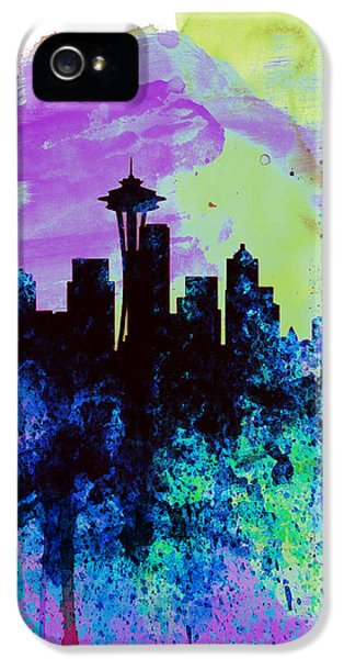 Seattle Skyline iPhone 5s Case -  Seattle Watercolor Skyline 1 by Naxart Studio