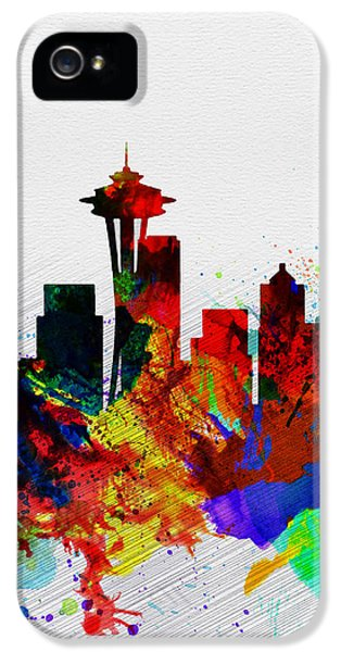 Seattle Skyline iPhone 5s Case -  Seattle Watercolor Skyline 2 by Naxart Studio