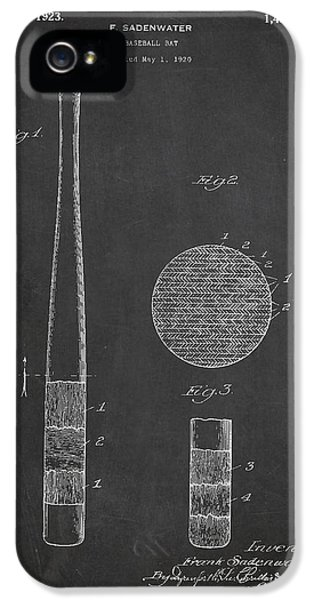 Softball iPhone 5s Case - Baseball Bat Patent Drawing From 1920 by Aged Pixel