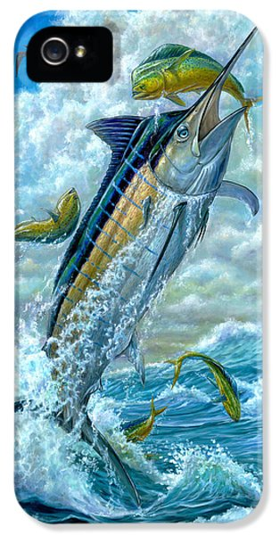 Dolphin iPhone 5s Case - Big Jump Blue Marlin With Mahi Mahi by Terry  Fox