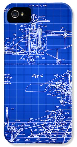 Helicopter iPhone 5s Case - Helicopter Patent 1940 - Blue by Stephen Younts